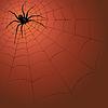Векторный клипарт: Большой темный паук на паутине