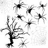 Векторный клипарт: Хэллоуин набор пауков, сеток и высушенного дерева