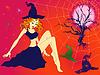 Halloween girl in sinister moonlight night | Stock Vector Graphics