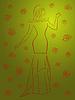 Векторный клипарт: Стильная женщина в длинном платье среди роз более зеленый