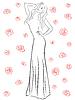 Векторный клипарт: Стильная женщина в длинной мантии среди роз