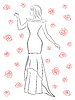 Векторный клипарт: Стильная женщина в длинном платье среди роз