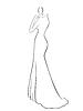 Векторный клипарт: Абстрактный женщина в длинном платье