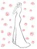 Векторный клипарт: Женщина в длинном платье среди роз