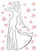 Векторный клипарт: Хорошая женщина в длинном платье среди роз