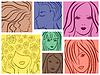 Satz von sieben farbigen Frauen Portrait