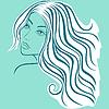 Schöne blonde Frauen skizzieren Kopf