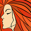 Abstract women with fiery hair | Stock Vector Graphics