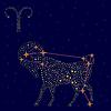 Znak zodiaku: Baran na rozgwieżdżone niebo | Stock Vector Graphics