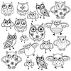 Eighty funny owls black outlines | Stock Vector Graphics