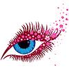 Векторный клипарт: Женский голубой глаз с небольшим розовым цветами сакуры