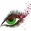 Weibliche grüne Augen mit kleinen rosa Kirschblüte-Blumen