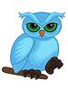 Векторный клипарт: Симпатичные карикатуры синий сова на ветке