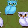 Векторный клипарт: Бесшовные работа модели с мультяшныйа совы