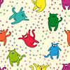 Jednolite wzór z zabawnymi kotami | Stock Vector Graphics