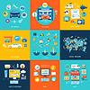 Векторный клипарт: Автосервис автомойка социальные медиа интернет-магазин
