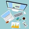 ID 4561059 | Top Blick auf Arbeitsplatz mit Computer und die Geräte | Stock Vektorgrafik | CLIPARTO