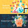 Globale Investitionen und finanzielle Alchemie Konzept