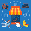 Internet-Shopping-Konzept-Smartphone mit Markise