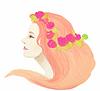 Векторный клипарт: Портрет девушки - цветы