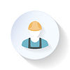 Векторный клипарт: Работник строитель плоским значок