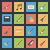 Музыкальные инструменты, установленные плоские иконки | Векторный клипарт