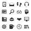 Vermarktung schwarzen und weißen Flach Symbole Set