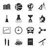 Schule Schwarz-Weiß-Flach Symbole Set