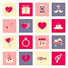 Valentinstag flachen Icons Set