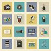 Sprzęt Zdjęcie mieszkanie ikony zestaw z cieniami | Stock Vector Graphics