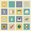 Astronautics and Space Icons Set Flach