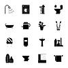 Ikony ustaw sylwetki łazienkowe | Stock Illustration