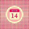 Data kalendarza 14 lutego Walentynki | Stock Vector Graphics