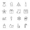 Weihnachten und Neujahr dünne Linien-Icons Set