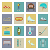 Wintersport Flach icons set