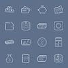 Geld und Finanz dünne Linien-Icons Set