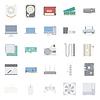 Computerkomponenten und Peripheriegeräte Flach icons set