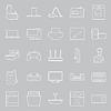 Startseite Elektrogeräte dünnen Linien icon set