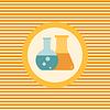 Flaschen mit wissenschaftlichen Experimenten Farbe Flach icon