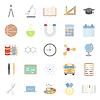 Bildung und Schule Farbflach icons set