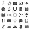 Bildung und Schule Silhouetten Icons Set