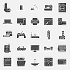 Startseite Elektrogeräte Silhouetten Icon Set