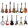 Zestaw akustycznych i elektrycznych gitar | Stock Vector Graphics