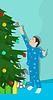 Векторный клипарт: Маленький мальчик возле елки