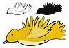 Векторный клипарт: желтая птица