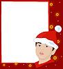 Векторный клипарт: Рождественская рамка с гномом