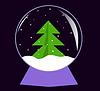 Glaskugel mit Weihnachtsbaum