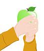 Векторный клипарт: Ребенок держит яблоко