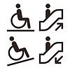 Rolltreppe und Einrichtungen für Behinderte Symbole