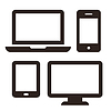 Laptop, Handy, Tablet und Monitor-Icon-Set